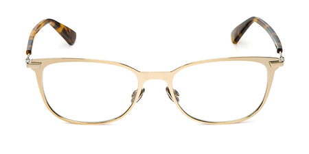 glasses metal in rectangular frame transparent for reading or good eye sight, front view isolated on white background.