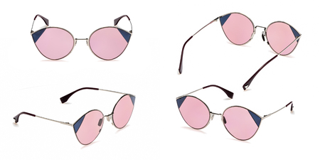 Set Retro pink sunglasses in round frame isolated on white background. Collection fashion Vintage summer sunglasses.
