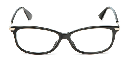 Black eyeglasses in rectangular frame transparent for reading or good vision, top view isolated on white background. Stock Photo