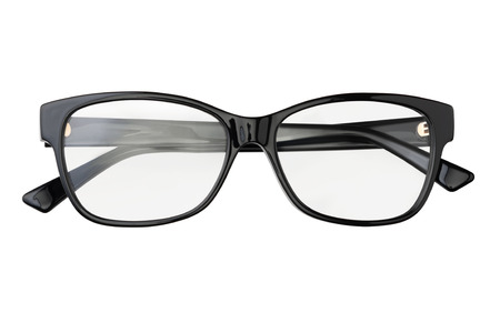 Black eyeglasses in rectangular frame transparent for reading or good vision, top view isolated on white background.
