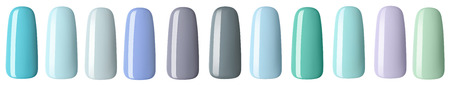 Nail polish in different fashion pastel color. Colorful nail lacquer in tips isolated white background.