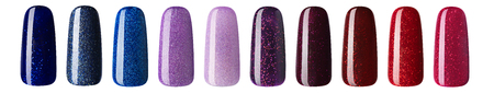Nail polish with glitter in fashion different pastel color. Colorful nail lacquer in tips isolated white background.