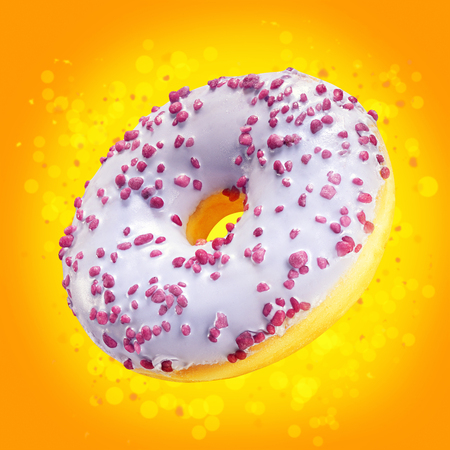 Design mockup donut closeup with frosted purple glaze. Sweet food concept. Amazing ads flyer with donuts on orange background with splash yellow bokeh. Doughnut dessert template for sale or discount.