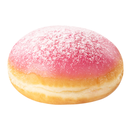 Fresh Berlin Donut dessert with frosted pink glaze and powdered sugar, isolated on white background. Sweet food concept with one pink doughnut cake for your design and print.