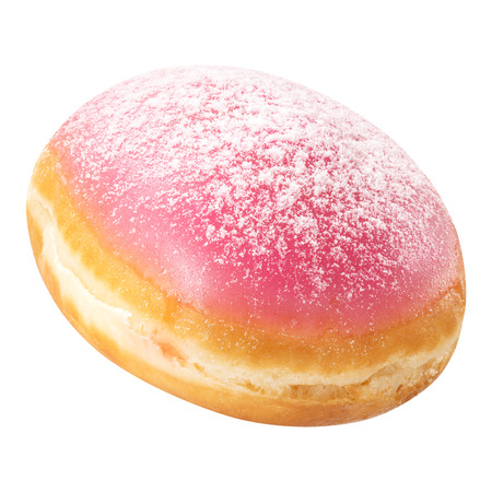 Donut with pink glaze, isolated on white background. Doughnut closeup.