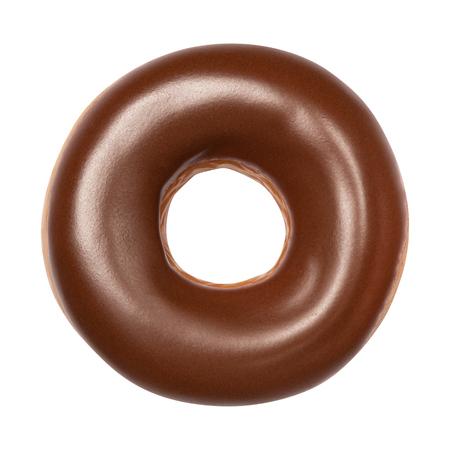 Smaczny deser pączek z błyszczącą polewą czekoladową, widok z góry na białym tle. Słodki pomysł na jedzenie z jednym okrągłym ciastem czekoladowym do zaprojektowania i wydrukowania. Przedni widok.