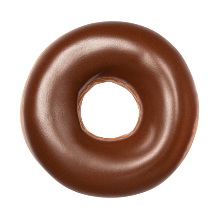 Tasty Donut dessert with chocolate glossy glaze, top view isolated on white background. Sweet food concept with one round chocolate doughnut cake for your design and print. Front View.
