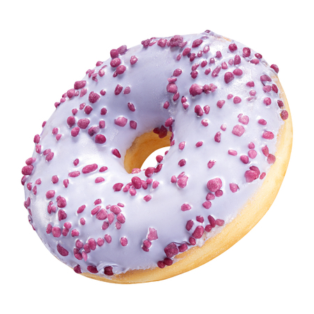 Tasty Donut dessert with frosted purple glazed and colorful sprinkles isolated on white background. Sweet food concept with one round violet doughnut cake for your design and print.