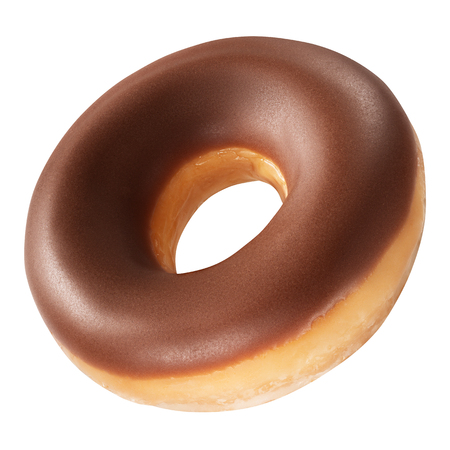 Donut with chocolate glaze isolated on white background. One round chocolate Doughnut.