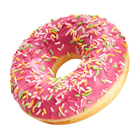 Donut with coral color glaze and colorful sprinkles isolated on white background. One round pink doughnut. Stockfoto