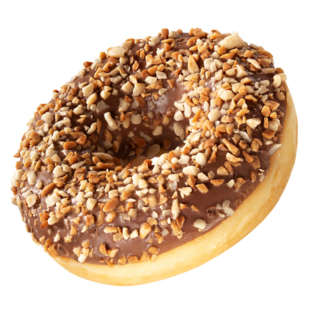 Donut with frosted chocolate glaze and nuts sprinkles isolated on white background. One round chocolate and nuts doughnut.