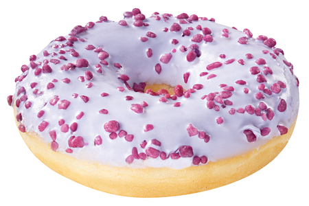 Donut with frosted purple glazed isolated on white background.  One round violet glaze doughnut.