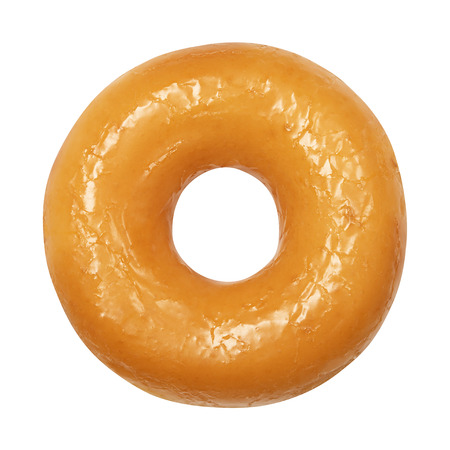 Donut with glazed isolated on white background. One round glossy yellow glaze doughnut. Front View. Top view.