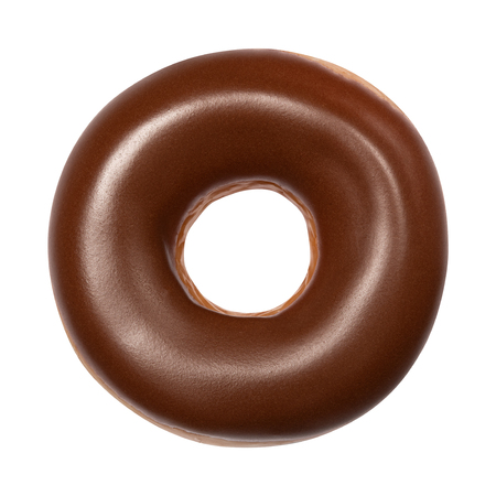 Donut with chocolate glaze isolated on white background. One round  American chocolate doughnut. Front View. Top view.
