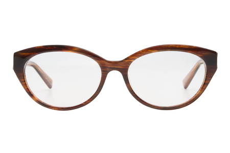 Glasses isolated on white background. Front view brown glasses transparent reading in oval frame, business or office style.