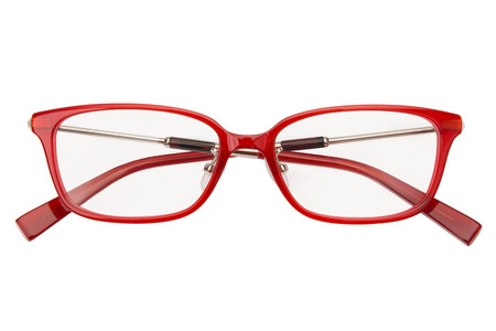 Glasses isolated on white background. Front view red glasses reading transparent in rectangular frame, business or office style.