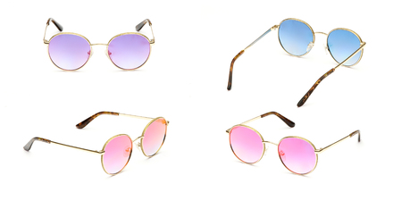 Set blue sunglasses in round frame multi colored Mirror Lens isolated on white background. Vintage fashion sunglasses. Glasses summer collection.