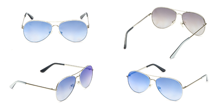 Sunglasses frame aviator with blue Mirror Lens isolated on white background. Fashionable summer eye glasses collection. Set polarizing sunglasses.