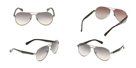 Sunglasses frame aviator with grey Mirror Lens isolated on white background. Fashionable summer eye glasses collection. Set polarizing sunglasses.