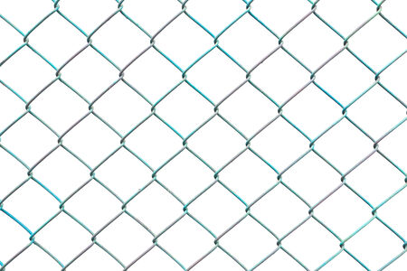 Green Chain Link Fence on White Background