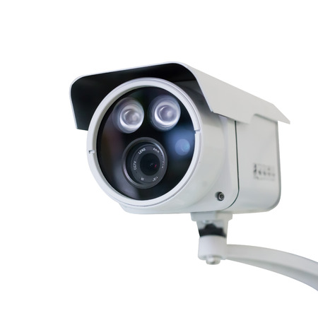 CCTV security camera on white background Banco de Imagens