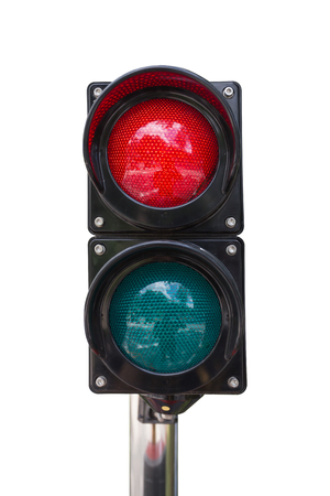 Traffic lights isolated on white background Banco de Imagens