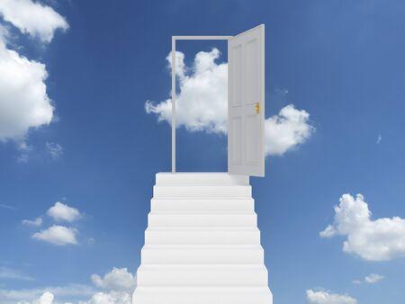 A bule sky and an open door