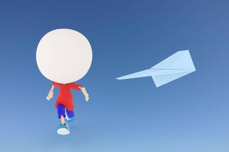 Kid chasing paper airplane