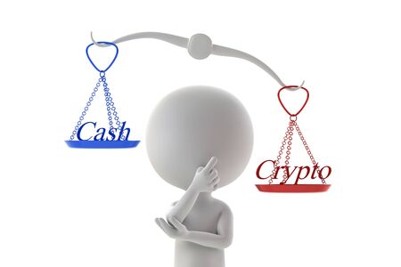 Person that compares cash and cryptocurrency