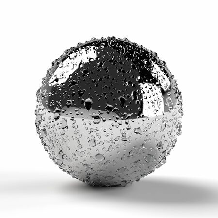 Chrome plated metal sphere wet with water drops on white
