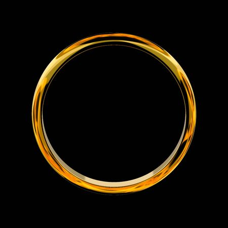 3D illustration of sparkling gold ring on black background