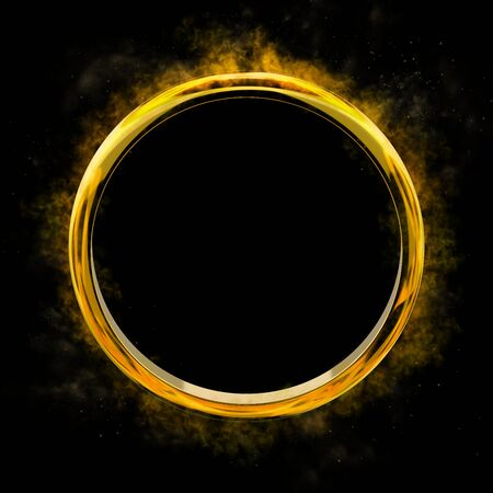3D illustration of gold ring spattering sparkling gold powder on black background Stok Fotoğraf