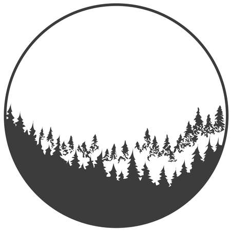 Forest turning from dark to light, inscribed in a circle. Black and white vector sketch. Çizim