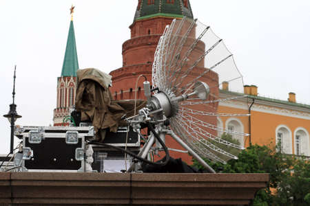 The mobile earth terminal on the Kremlin background photo