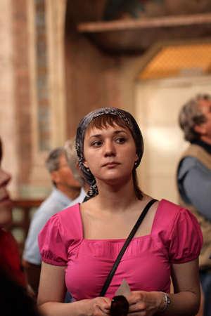 humility: The girl in orthodox church, Uglich, Russia