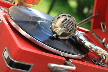 record shop: The retro record player in a antiquarian shop
