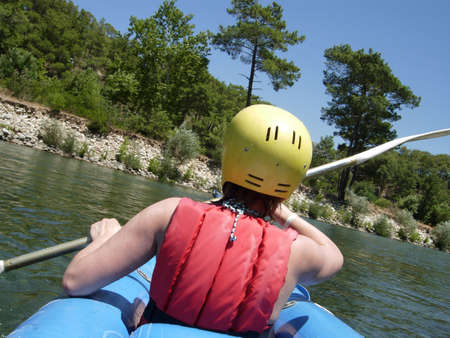 The rafting by canoe on river, Turkey photo
