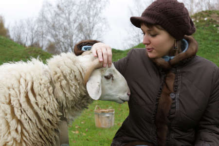 The girl speaks with a sheep on lawn Stock Photo - 3758913
