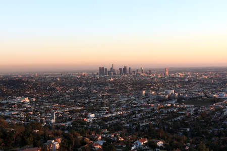 Sunset in Los Angeles, view from above photo