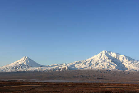 Mount Ararat in winter, view from Armenia