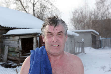 finnish bath: Portrait of man after Finnish bath in winter