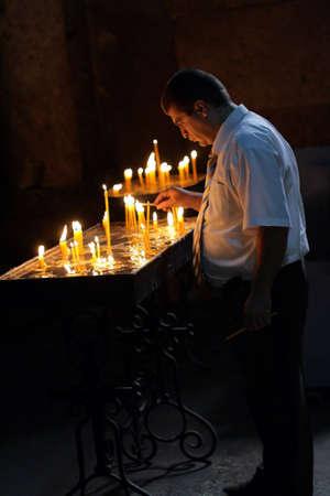 apostolic: The religious ceremony in Armenian Apostolic Church Stock Photo