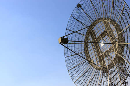 radio telescope: The green antenna of a army radar Stock Photo