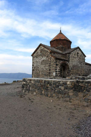 national historic site: Church on top of a peninsula in Lake Sevan, Armenia Stock Photo
