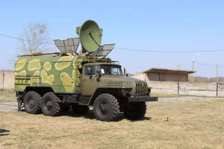The military truck for radio tracking on range photo