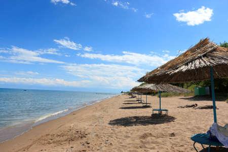 kyrgyzstan: El recurso en el lago Issyk Kul, Kirguist�n Foto de archivo