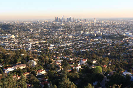Los Angeles at sunset in winter, USA photo