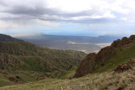 issyk kul: Tien Shan range and Issyk Kul lake, Kyrgyzstan
