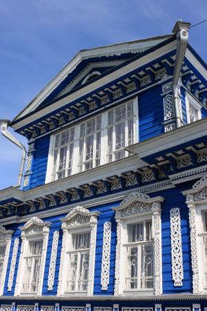 nizhni novgorod: Blue decorated wooden house in Nizhni Novgorod, Russia