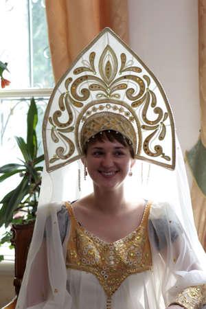 kokoshnik: The woman in kokoshnik - traditional Russian head-dress worn by women and girls